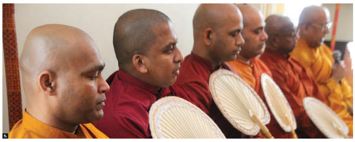 The 72nd national day of Sri Lanka was celebrated at the official residence of the Sri Lankan High Commissioner M.A.K. Girihagama. Sri Lankan monks from Ottawa attended the reception. (Photo: Ülle Baum)