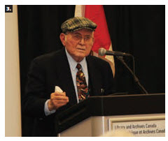 An international Holocaust remembrance event took place at Library Archives Canada. Digital Government Minister Joyce Murray attended. Shown is Pinchas Gutter, a Holocaust survivor who spoke about his own experience. (Photo: Ülle Baum)