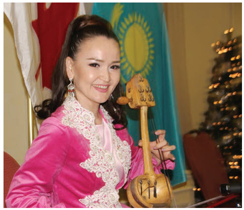 Kazakhstan Ambassador Akyibek Kamaldinov and his wife, Olga Kamaldinova, hosted a national day reception at the Fairmont Château Laurier. Kazakh musician Akerke Tazhibayeva performed with an ancient Kazakh national instrument known as a kobyz. (Photo: Ülle Baum)