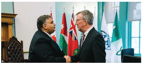 Jordanian Ambassador Majed Alqatarneh, left, paid a courtesy call on Ottawa Mayor Jim Watson. (Photo: Chris Bricker)
