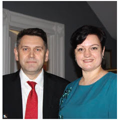 Russian defence attaché Col. Andrey Sboev and his wife, Yulia Sboeva, hosted a luncheon for Ottawa's Service Attaché Association at Signatures restaurant. (Photo: Ülle Baum)