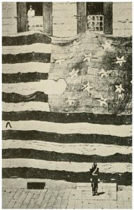 The flag that flew over Fort McHenry in 1814 — the largest battle flag in existence — measures 36 by 29 feet and was made by Mary Young Pickersgill and her two nieces, who cut its pieces at home and sewed it at a local brewery. During bombardment, it was pierced several times. It was restored some 100 years later and taken to the National Museum in Washington, D.C.