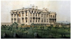 The White House as it looked to artist George Munger following the burning of Washington in August 1814.