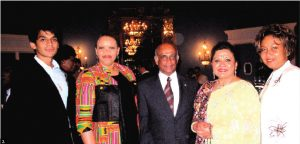 To mark the 38th anniversary of the creation of the Caribbean Community (CARICOM), the heads of mission from CARICOM countries hosted a reception. From left: Ashwin Gavai, South African High Commissioner Mohau Pheko, Guyana High Commissioner Harry Nawbatt, Rina Gavai, wife of Indian High Commissioner Shashishekhar Gavai, and Haitian chargé d'affaires Nathalie Menos-Gissel. (Photo: Jennifer Campbell)
