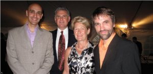 British High Commissioner Andrew Pocock (second from left), and his wife Julie (second from right), hosted a reception in honour of Equiterre, an organization which encourages individuals and organizations to make ecological and equitable choices. Equiterre co-founder Sidney Ribaux, left, co-hosted the event which Steven Guilbeault, right, attended. (Photo: Jennifer Campbell)