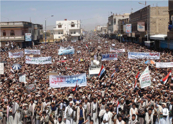 This protest in Saada, Yemen, was organized by the Houthis, a group of Shias who have fought government discrimination.