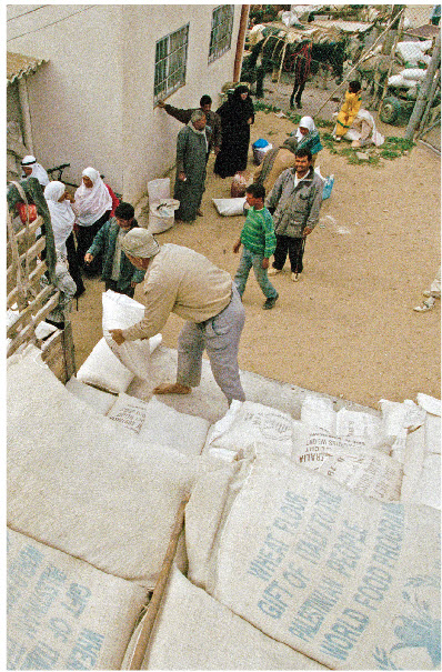 The World Food Program distributes food in Rafah, Gaza.