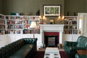 The high commissioner's study still contains the original fireplace and bookshelves.