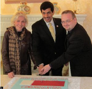 To mark the official opening of the embassy of Qatar in Ottawa, Algerian Ambassador Smail Benamara hosted a reception to welcome Qatari Ambassador Salem Mubarak Al-Shafi, centre, with chief of protocol Margaret Huber, left, and city councillor Stephane Blais, right. (Photo: Algerian embassy)