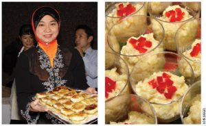 Siti Hazura Mohd Ghans, wife of Mohamed Hatimi Abas, Malaysia's acting high commissioner, holds a plate of Malaysian pastries called murtabak. • Paraguay's contribution, called mandi'o chyryry, which contains fried cassava, eggs, onions, and cheese.