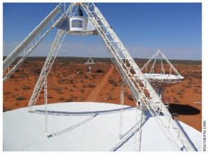 A milestone: Looking out from the reflector dish of one of the new antennas at the Murchison Radio-Astronomy Observatory.