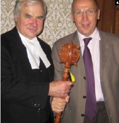 House of Commons Speaker Peter Milliken received a bulava, a Ukrainian symbol of political power, from Ukrainian Ambassador Ihor Ostash, who presented it on behalf of the Ukrainian-Canadian Professional and Business Association of Ottawa.