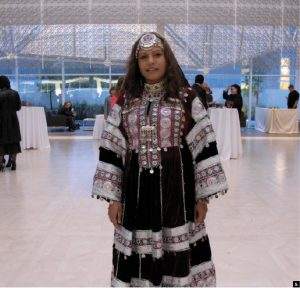 To mark the national day of Afghanistan, the embassy and the Aga Khan Foundation Centre jointly hosted a reception. Here, Carleton student Humaira Suliman wears Afghan national dress. (Photos: Jennifer Campbell)