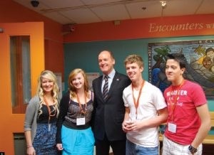 """Netherlands Ambassador Wim Geerts attended a conference entitled """"The Future of Remembrance"""" at the Canadian War Museum. He's shown here with student participants."""