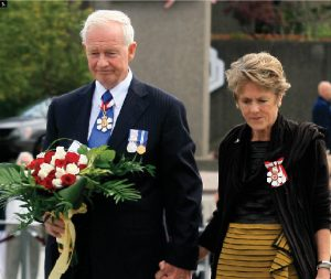 Gov. Gen. David Johnston and his wife, Sharon, went to the National War Memorial as part of his installation ceremony. (Photos: Frank Scheme)