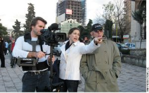 From left: Neil Barrett, director of photography, with film director Rachel Goslins, and photographer Norman H. Gershman on set in Tirana, Albania.