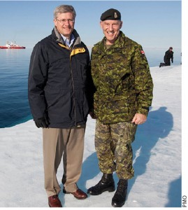 Prime Minister Stephen Harper and Chief of Defence Staff Walter Natynczyck visit Operation Nanook, an annual military exercise to reinforce Canada's sovereignty in the North.