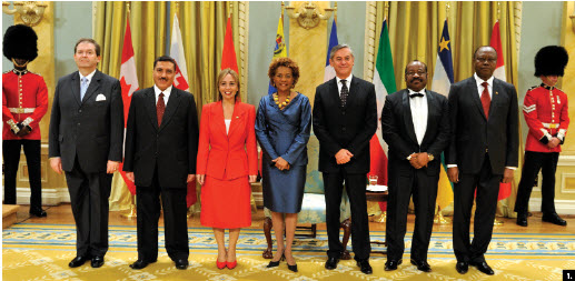 Then-Gov. Gen. Michaelle Jean, centre, received credentials from several heads of mission June 16 including, from left, Slovakian Ambassador Milan Kollár, Iraqi Ambassador Abdulrahman Al-Hussaini, Venezuelan Ambassador Jhannett María Madriz Sotillo, Chilean Ambassador Roberto Ibarra García, Equatorial Guinea Ambassador Anatolio Ndong Mba, and Central African Republic Ambassador Stanislas Moussa-Kembe. (Photo: Corp. Dany Veillette, Rideau Hall)