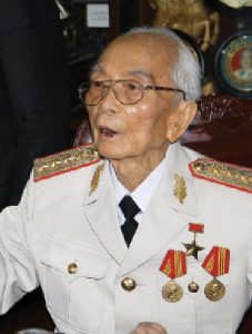 Vo Nguyen Giap, now 90 years old, is a former Hanoi high-school teacher whose father had died in one of the French colonial prisons. He was the military brains behind Vietnam's liberation movement.