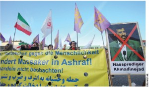 Iranians demonstrate in front of the U.S. embassy in Berlin last fall, calling on the U.S. to protect Iranian refugees inside Ashraf Camp, Iraq.