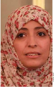Yemeni activist Tawakkul Karman's non-violent protest leads her to a Nobel Peace Prize. She dedicated it to the people of Yemen.