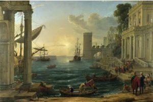 Claude Lorrain's painting of the Queen of Sheba disembarking.