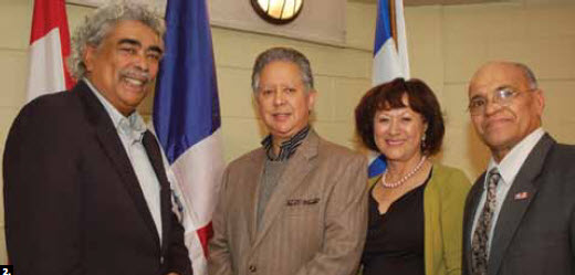 2. Jose del Carmen Urena, ambassador of Dominican Republic, hosted an independence day event March 3 at Tetreau Community Centre in Gatineau (Hull). From left, MP Jose Nunez-Melo, Ambassador Urena, Arelis Medina, vice-president of the Dominican Cultural Association and Silfredo Almonte, president of the Dominican Cultural Association. (Photo: Danilo Velasquez)