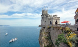 Swallow's Nest is a decorative castle near Yalta on the Crimean peninsula in southern Ukraine. It was built between 1911 and 1912 in Gaspra, on top of the 40-metre-high Aurora Cliff, by Russian architect Leonid Sherwood.