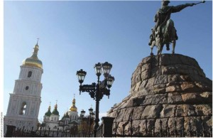 A monument to 17th-Century Ukrainian military commander Hetman Bogdan Khmelnytsky stands in front of St. Sophia Cathedral in Kyiv.