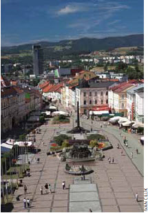 The main square in the city of Banska Bystrica.
