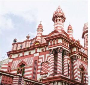 The famous Jami-Ul-Alfar Jummah Mosque in Colombo's lively Pettah district