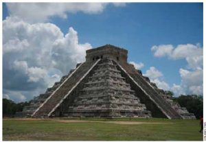 An ancient Chichenitza Mayan Temple in Mexico.