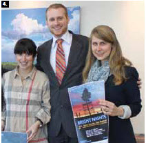 The second annual Bright Nights Baltic-Nordic Film Festival was launched at the Lithuanian embassy. From left, the Canadian Film Institute's Jennifer Zaret, Lithuanian diplomat Tomas Margaitis and Norwegian diplomat Synne Slettebo. (Credit: Ulle Baum)