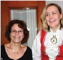Norwegian Ambassador Else Berit Eikeland, right, and Israeli Ambassador Miriam Ziv at Norway's National Day party. (Photo: Ulle Baum)