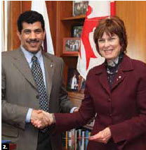 Qatar Ambassador Salem Al-Shafi presented McGill University's Institute of Islamic Studies with a $1.25 million gift from his country. Heather Munroe-Blum, principal and vice-chancellor of McGill, received the cheque. (Photo: Qatar embassy