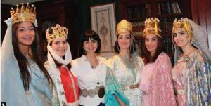 Maria Yeganian, wife of Armenian Ambassador Armen Yeganian, hosted an event, which featured Armenian music and dances as well as ancient and medieval royal costumes. From left, Narine Panossian, Shaghig Reynolds, Maria Yeganian, Houry Avetisian, Gayane Panossian and Anna Bedrossyan after the cultural presentation. (Photo: Ulle Baum)