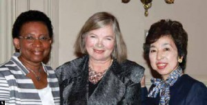 The Canadian Federation of University Women's diplomatic hospitality group held a fashion show at Fairmont Chateau Laurier, featuring the work of designer Elena Hinke. From left, Francilia Greaves, wife of Barbados High Commissioner Evelyn Greaves, organizer Ulle Baum and Masako Ishikawa, wife of Japanese Ambassador Kaoru Ishikawa. The event marked the Chateau's 100th birthday and attracted guests from 35 countries.