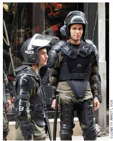 Anti-riot police in central Damascus