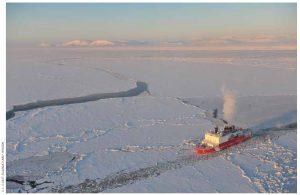 The U.S. Coast Guard cutter Healy breaks ice in Nome Harbour, Alaska.
