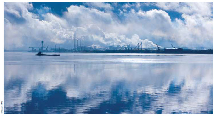 An Arkhangelsk factory in the gulf of White Sea in Russia.