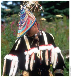 A modern Alaskan Alutiiq dancer in traditional festival garb.