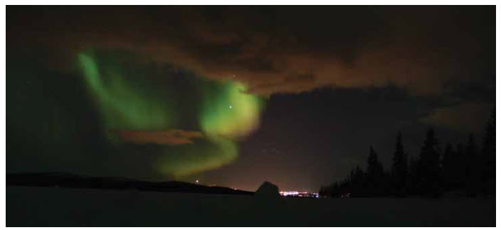 Aurora Borealis — the Northern Lights — in Kiruna, the northernmost city in Sweden.