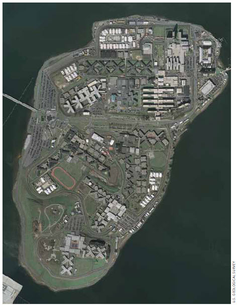 New York City's Riker's Island in the East River, houses 14,000 prisoners and has 8,500 staff.