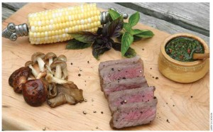 Grilled steak with chimichurri sauce (recipe page 68).