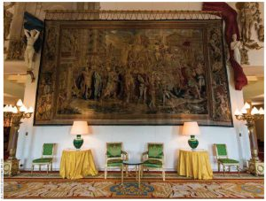 The magnificent salon is dominated by a priceless Gobelins tapestry called The Triumph of Constantine, woven in the 17th Century from a Raphael drawing.