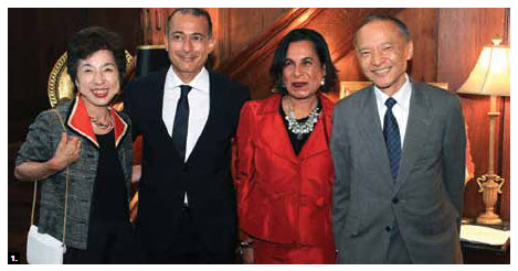 1. Egyptian Ambassador Wael Aboul Magd, middle left, and his wife, Hanan Mohamed Abdel Kader, middle right, hosted a national day reception at their residence in July. They're shown with Japanese Ambassador Kaoru Ishikawa and his wife, Masako (Photo: Sam Garcia).