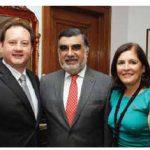 Peruvian Ambassador José Antonio Bellina Acevedo hosted a national day reception at his residence. From left, Paraguayan Ambassador Manuel Schaerer Kanonnikoff, Mr. Bellina Acevedo and his wife, Rosa Bellina. (Photo: Sam Garcia)