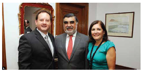Peruvian Ambassador José Antonio Bellina Acevedo hosted a national day reception at his residence. From left, Paraguayan Ambassador Manuel Schaerer Kanonnikoff, Mr. Bellina Acevedo and his wife, Rosa Bellina. (Photo: Sam Garcia)