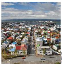 Downtown Reykjavik, Iceland's capital.