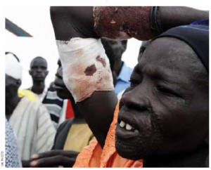 The UN evacuates the wounded in the aftermath of bombings in South Sudan in 2012.